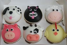 Farm cupcakes.  chicken ,  pig , cow , sheep , cat & dog cupcakes Farm Animal Cupcakes, Pig Cupcakes, Animal Cakes, Fondant Cupcakes, Pup Cakes, Cupcake Day, Farm Cake, Cupcake Images, Horse Cake