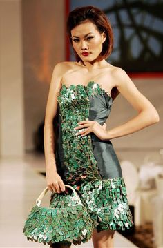 Rejected computer chips.. like this. Jakarta Eco Chic Fashion Show | Asian American News | GoldSea