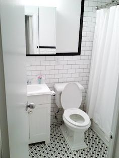 small bathrooms with subway tile and dark grout - Google Search