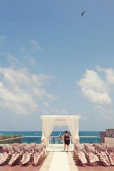 Chic ceremony decor at the terrace of the Azul Sensatori Hotel by Karisma. Wedding SetUp, Wedding Ceremony, Wedding Ideas, Wedding Inspiration, Destination Weddings, Riviera Maya Weddings