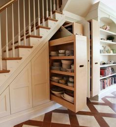 Storage under the stairs in the basement