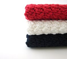 Organic Cotton Washcloth, Bathroom Home, Colorful Kitchen, Eco Friendly, Crochet, Red, White, Blue,