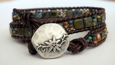 Beaded Leather Wrap Bracelet, picasso finish, CzechMates, two hole tile beads, multicolored. $32.00, via Etsy.