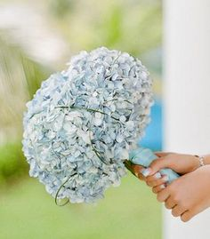 Blue hydrangeas wedding bouquet.