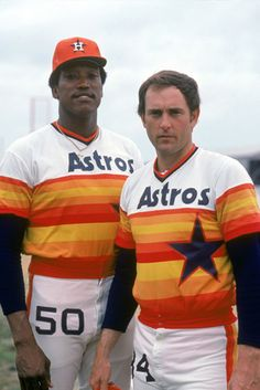 Richard and Nolan Ryan. The Houston Astros uniforms were boldly orange . Similar to the Padres, the Astros sold their soul when they gave up their color for reddish-brown. Baseball Uniforms, Sports Uniforms, Baseball Players, Football Helmets, Baseball Pics, Baseball Wall, Football Humor, School Uniforms, Sport