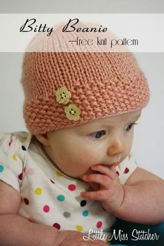 Little Miss Stitcher: Bitty Beanie Free Knit Pattern - Tricot 01 Baby Hat Knitting Patterns Free, Baby Hat Patterns, Baby Hats Knitting, Knitting For Kids, Easy Knitting, Knit Patterns, Knitted Hats, Crochet Hats, Newborn Knit Hat