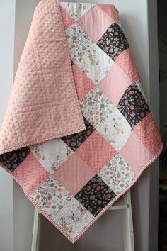 Baby Girl Quilt~ Coral Nursery~ Woodland Nursery Bedding~ Patchwork Baby Quilt~ Homemade Baby Quilt~Pink & Grey Nursery~Baby Quilts For Sale by LittlebCottonShoppe on Etsy https://www.etsy.com/listing/520928993/baby-girl-quilt-coral-nursery-woodland