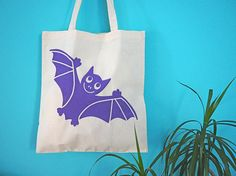 Halloween Bat Tote Bag Cute Bat Tote Bag Halloween Trick or