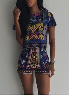 Vintage Geometric Printed Short T-Shirt+High Waist Shorts Twinset For Women