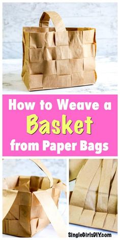 Turn grocery store paper bags into a farmhouse-chic picnic basket with this step by step tutorial. It's budget friendly, for sure! Make a basket that is perfect to hold fruit, flowers or use as a gift basket. #DIY #upcycling #upcycle #weaving Thrifty Decor, Diy Home Decor, Craft Gifts, Diy Gifts, Paper Basket Weaving, Fruit Flowers, Paper Bags, Farmhouse Chic, Diy For Girls