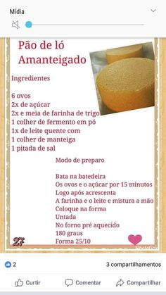 Portuguese, Cantaloupe, Fruit, Food, Cake Batter, Sponge Cake Recipes, Easy Keto Recipes, Loaf Bread Recipe, Cook