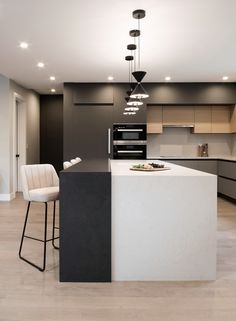 Kitchen Island With Sink, Modern Kitchen Island, Black Kitchen Cabinets, Modern Kitchens, Upper Cabinets, Modern Kitchen Design, Home Kitchens, Home Decor Kitchen, Kitchen Interior