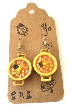 Korean Style Ramen Miniature Food Earrings by YogiYoAccessories Funky Earrings, Drop Earrings, Miniature Food, Korean Style, Ramen, Korean Fashion, Polymer Clay, Miniatures, Creative