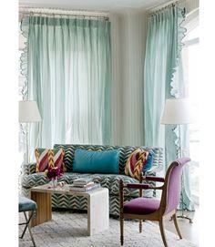 Turquoise, purple, chevron amazing drapes Miles Redd