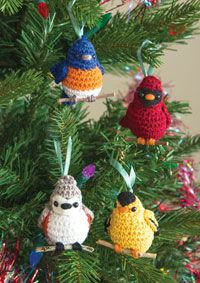 Four Calling Birds Ornaments pattern by Megan Kreiner - Amigurumi Crochet Birds, Knit Or Crochet, Cute Crochet, Crochet Crafts, Crochet Dolls, Yarn Crafts, Crochet Animals, Quick Crochet, Crochet Christmas Ornaments