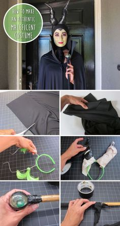 Maleficent is sure to be a hit this Halloween. Make your own Maleficent horns for the complete costume! Costume Halloween, Carnaval Costume, Diy Costumes, Halloween Party, Maleficent Costume Kids, Maleficent Makeup, Villain Costumes, Diy Maleficent Horns, Young Maleficent
