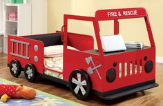 Features:  -Twin bed constructed entirely from metal.  -Inspired by fire trucks with all-over red color.  -Silver and black accents bring truck to life.  -Front engine doubles as a handy table or shel