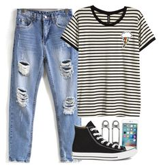 """""""every day look"""" by fungirl1forlife ❤ liked on Polyvore featuring H&M and Converse"""