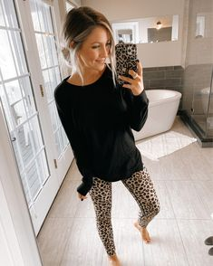 Shop Your Screenshots™ with LIKEtoKNOW.it, a shopping discovery app that allows you to instantly shop your favorite influencer pics across social media and the mobile web. Cute Lounge Outfits, Lazy Day Outfits, Casual Winter Outfits, Everyday Outfits, Fall Outfits, Fashion Outfits, Stylish Mom Outfits, Leopard Leggings Outfit, Leopard Outfits