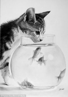 The artist is also fond of depicting animals and everyday people, including this realistic image of a cat and a fishbowl
