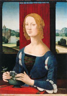 Lorenzo di Credi (Italian, Florentine, ca. 1456–1536) Catarina Sforza or a Lady with Flowers. 1485-90 Forlì, Musei San Domenico, Pinacoteca civica, inv. no. 119.