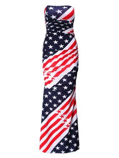 Zanzea USA Flag Sexy Strapless Mermaid Party Prom Long Gown Maxi Dress