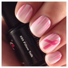 "Contestant: Pamela Coetzee ""Here is my #breastcancerawareness mani. Base is two coats of ooh la la french with two coats of pillow talk. Waterfall art done with ooh la la french, wardrobe change, chic, and oui madame . Ribbon is stamped. LOVE this mani! Thank you for this opportunity Couture Gel Nail Polish to share our support and love for everyone breast cancer has affected!""  #gelnailpolish #couturegelnailpolish #breastcancerawareness"