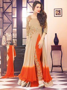 USD 76.26 Malaika Arora Khan Beige Georgette Bollywood Suit 56036