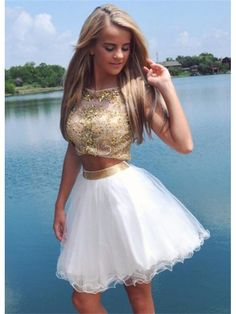 GOLDEN CHAMPAGNE KEY HOLE BACK TWO PIECE HOMECOMING DRESS