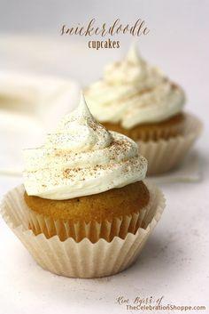 Snickerdoodle Cupcake Recipe {Easy Semi-Homemade Sweet} - the celebration shoppe Köstliche Desserts, Delicious Desserts, Dessert Recipes, Yummy Food, French Desserts, Plated Desserts, Tasty, Snickerdoodle Cupcakes, Snickerdoodle Recipe