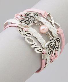 Love this Pink & White Heart Bracelet on #zulily! #zulilyfinds