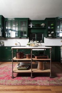 high gloss Green Kitchen Cabinets, pink rug
