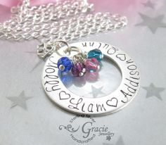 Handstamped Family Necklace Sterling Silver -Family Circle