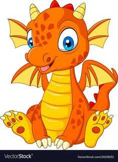 Cartoon young dragon sitting vector image on VectorStock Cartoon Bat, Cartoon Dragon, Cartoon Dinosaur, Cute Dinosaur, Dinosaur Birthday, Cartoon Drawings, Animal Drawings, Cute Cartoon, Die Dinos Baby