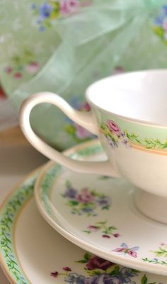 Pretty Green Teacup and Saucer