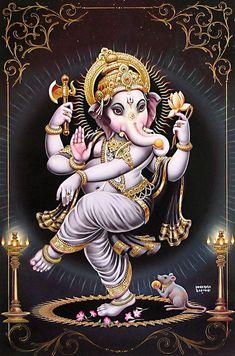 Dancing Ganesha - Hindu Posters (Reprint on Paper - Unframed) Arte Ganesha, Pintura Ganesha, Shri Ganesh, Hanuman, Durga, Ganesha Drawing, Lord Ganesha Paintings, Ganesh Images, Ganesha Pictures