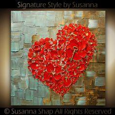 ORIGINAL Resumen gruesa textura flores rojo corazón por SusannaShap