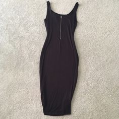 Zipper Back black dress New without tag elegant dress! Very beautiful and so comfy , material is double lined and very very stretchy, can be ok for M size to! You will love it ! NOT ZARA BRAND offers accepted Zara Dresses Midi