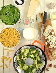 Makaron w sosie biało-zielonym - etap 1