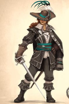 """we-are-rogue:  """"  Adalia de Volador by Julien Fenoglio  """"This is what En Garde's main character looks like, at the end of pre-production  """"  @we-are-swashbuckler  """""""