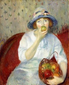William Glackens (American Ashcan School Painter, Girl with Apples 1911 It's About Time: Apples to celebrate Fall Robert Motherwell, Jackson Pollock, Keith Haring, Richard Diebenkorn, Renoir, William Glackens, Ashcan School, American Impressionism, Williams James