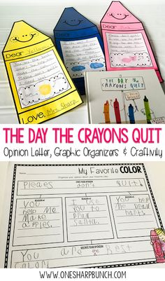 """Get your primary students excited about opinion writing with """"The Day the Crayons Quit"""" and this super cute crayon craftivity! Your kiddos are sure to be engaged as they complete this persuasive letter to their favorite color! by fannie Writing Lessons, Teaching Writing, Student Teaching, Writing Rubrics, Paragraph Writing, Writing Centers, Library Lessons, Writing Ideas, Math Lessons"""
