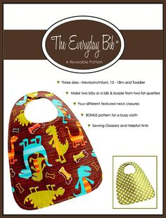 The Everyday Bib  PDF Sewing Pattern with BONUS Pattern by Bloome, $10.00