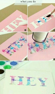 Water colour lettering using alphabet die cutters, water colour paints, card and post it notes°° - Amazing Diy Gifts Diy Tumblr, Crafts For Teens, Crafts To Do, Easy Diys For Teens Girls, Craft Ideas For Teen Girls, Teen Diy, Crafts Cheap, Diy Crafts For Teen Girls, Diy Y Manualidades