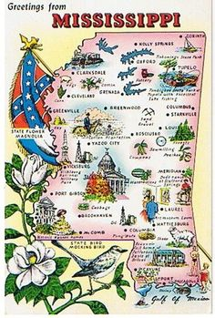 Greetings From Mississippi! This postcard features a map of Mississippi with major points of interest and cities marked. There are also pictures of the state flower, flag and state bird. The postcard is unused and on the back there are state facts including nickname, 1960 population, area and date entered in Union. There is slight bending on the upper corners but the edges are crisp. The back has some yellowing. (See photo). This postcard has a classic vintage look and would be great t..