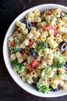 Creamy Summer Pasta Salad. Perfect on it's own for a light meal or as a side dish for summer potlucks and barbecues