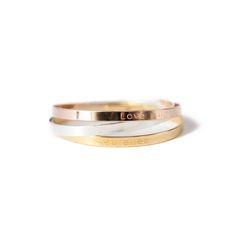"""Bracelet Jonc personnalisable, plaqué or rose ou jaune Texte """"HOPE"""" 70€"""