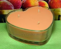 Georgia Peach PURE SOY Heart  Container Candle 16 oz.