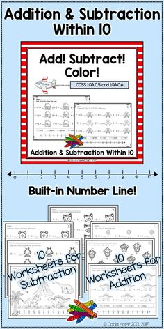 Great practice for adding and subtracting within 10 - for centers, independent work, or homework!  Number line gives extra support for kids who need it.