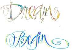 Lettering artist Lisa Engelbrecht shows that with the help of Sakura's Koi Coloring Brush, Water Brush and some Gold Pentouch, dreams can really begin! Creative Lettering, Cool Lettering, Cool Fonts, Lettering Design, Hand Lettering, Lettering Ideas, Handwriting Fonts, Cursive, Learn To Sketch